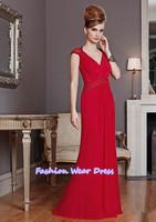 Free Shipping Fashion Custom Made 2014 A-Line V-Neck Pleat Chiffon Red  Zipper Floor Length Draped Mother Of Bride Dresses