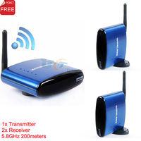 Wireless 5.8GHz Audio Video AV RCA Transmitter Sender Receiver Extender 200m w/IR Remote For DVD DVR IPTV STB 4 Channels PAT530