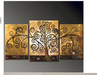 Hand Painted Canvas Abstract Oil Painting Tree Multi Panel 3 piece Canvas Wall Art Large Home Office Decoration Unframed
