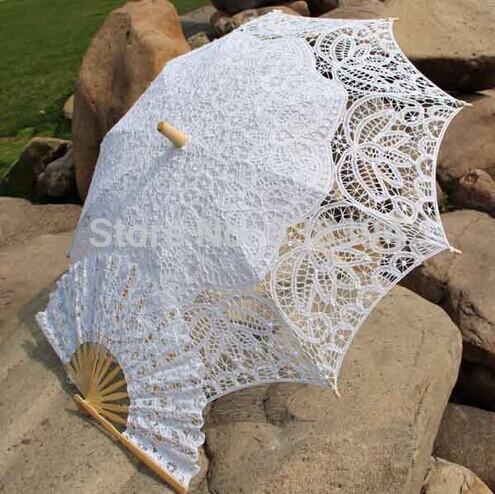 Venda quente real Vintage Battenberg Lace Parasol Umbrella Sun & Fan em branco marfim Handmade para o casamento de alta qualidade(China (Mainland))