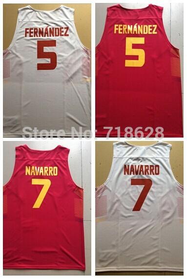 #5 Fernandez #7 NAVARRO Men's Spain Basketball jersey SIZE S-2XL(China (Mainland))