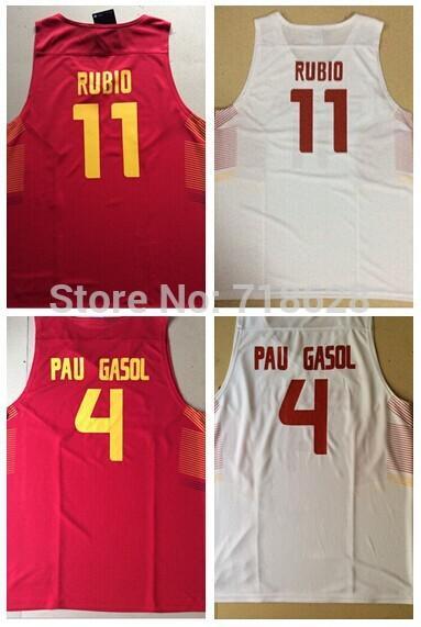 #11 Ricky Rubio #4 Pau Gasol Men's Spain Basketball jersey SIZE S-2XL(China (Mainland))