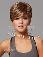 Light Tan Heat-resistant Fiber Fashion Short Synthetic Hair wig For Womenfree shipping