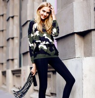 Autumn new Korean street shooting retro camouflage sweater thick long-sleeved round neck sweater ladies loose head