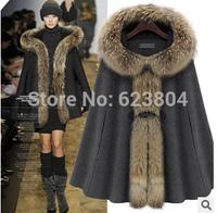 2014 New Coming Warm Jacket with Fur Wool Winter Overcoat Women  Fashion Cloak Free Shipping
