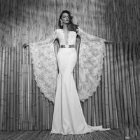 2014 New Fashionable Sheer Lace Long Sleeve Mermaid Wedding Dresses Satin Bridal Weddings & Events Gowns Vestidos De Noiva