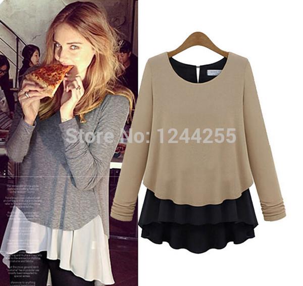 Fashion new blusas femininas 2014 comfortable cotton+ chiffon long sleeves casual women blouse Gray/Brown high quality(China (Mainland))