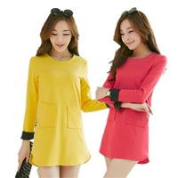Size M-XXL 2014 Autumn Winter Casual Basic Dress Long Sleeve O-Neck Pockets Split Warm Dresses For Women Girl 996709