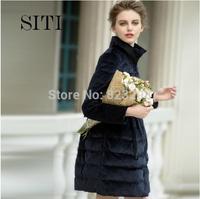 SITI (M-XL) 2014 Newest Fashion Women Sweet Velvet bow long down jacket 14DC002