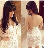 Free Shipping 2014 Fashion Backless sleeveless Sexy lace v-neck dress  Bodycon bandage Dress Party evening Dress