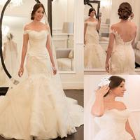 Elegant Mermaid Off the Shoulder Short Sleeve Applique Tulle Long Wedding Dresses 2014