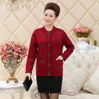 2014 Women Autumn Winter Print Thick Cashmere Sweater Coat Mother clothing Fashion Cardigan big size L- XXXL 4colors