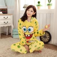 Winter Home Clothing Suit Wmen Coral Fleece Pajama Pijama Set Spongebob Pullover Femininos Inverno  Sleepwear Pyjamas For Sleep