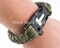 Free Shipping Survival Paracord Bracelet Flint Fire Starter Scraper Whistle Gear Kits function fintstone whistle