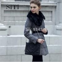 SITI  (S-XXXL) new 2014 elegant graceful woolen black white rabbit fur winter duck sashes slim