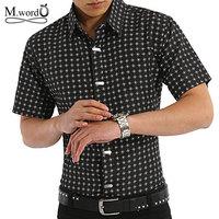 2014 new Free shipping men shirt short sleeve dress shirts Men's Summer  Short-sleeved Turn down Collar Cotton Shirt