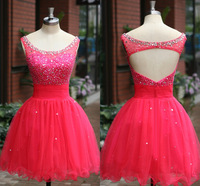 Custom Made 100% Real Image Homecoming dresses shiny short prom dresses tulle party dresses graduation dress WW02