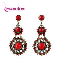 India Drop  Earrings Hollow Out Imitation Gemstone Esmaltes Dangle Earrings For Women Jewelry