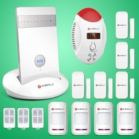 Free shipping! KR-G15 Wireless IOS Android App Voice Control Quad-band LED GSM Home Alarm System for Home Security CO Detector