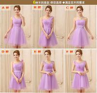 Fashion Popular 2014 autumn summer women clothing,6 different deigual style purple gauze bridesmaid dresses,vestido de festa,HOT