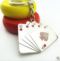 Metal Poker key chain black and red color key ring poker keychain