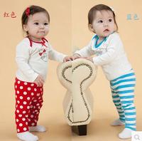 girl's sets cute cartoon long sleeve T shirt + dot / stripe pants children clothing fashion kids suits red,blue free shipping