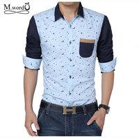 2014 New print Long Sleeve men Shirt Men's  Slim Fit Casual shirt splice Male Dress Shirt big Size: M- 5XL