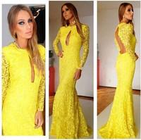 Winter Yellow vestidos de festa Lace Dress Women Casual Maxi Dress Long Sleeve Novelty Floor Length Hollow Out Sexy Club Dress