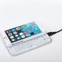 2014 Latest Wireless bluetooth keyboard For i--phone 6 bluetooth keyboard white with black white color Slide bluetooth keyboard