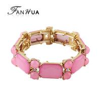 White Pink Bracelets Bangles Simulated Gemstone Elastic Bracelets Personalized Bijoux for Women