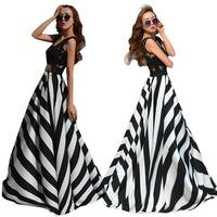 New Women Maxi Lace Chiffon Beach Dress Summer Boho Long Evening Party Dress