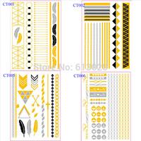 New 8 Kinds Pattern Metallic Gold & Silver Temporary Tattoos Jewelry Flash Body