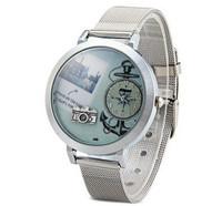 2014 Top Fashion Female Quartz Watch Round Dial Camera Pattern Stainless Steel Watch Women Hour Marks Silver Watch