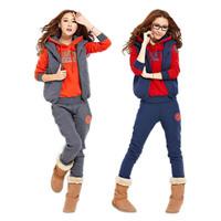 New Womens Sweatsuit Hooded Hoodies Coat+Vest+Pants 3pcs Sports Tracksuit