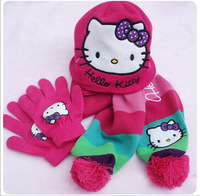 free shipping !!! hello kitty fashion hat+ scarf +glove set knitting for  baby girls winter hats Christmas Gift