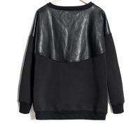 Casual men exo hoodies patchwork PU leather sweatshirt crew neck slim fit hoodies mens hip hop neoprene hoodie coat Nora10573
