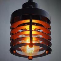 American Village single-head Iron Restaurant Bar creative retro bedroom stairs American industrial ring chandelier
