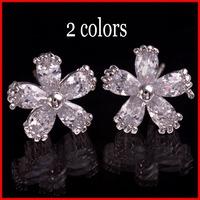 Top AAA Swiss CZ Snowflake Earrings For Women Flower Cubic Zirconia Earrings  - SKBTQ
