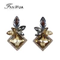 Champagne Color Earrings Rhinestone Drop Earrings New  Fashion  Brincos Vintage Earrings for Women