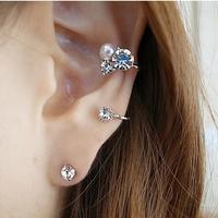 2014 New Shining 3 Pcs/ Set Big Pearl Rhinestone Bolas Stud Earring Women Arrival Fashion Brand Jewelry Hot Sale PT31