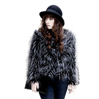 Coat New winter grass tricolor peacock feathers leather-sleeved fur coat
