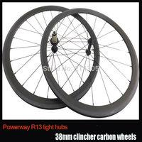 China Bike Part 3K Finished 700c 38mm Clincher Road Bicycle Carbon Wheelset Powerway R13 hub Aero mac 494 Flat spokes