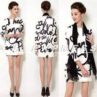 2014 Women Ladies Spring 3/4 Sleeve Black and Apricot Letter Print Autumn Midi Dress