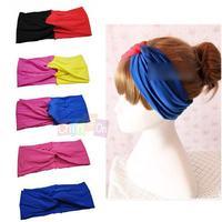 Hot Selling Fashion Style Candy Color Sport Hair Ribbon Wide Headband Hair Circle Hair Band