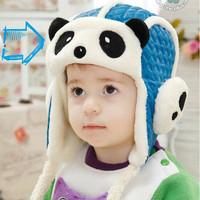 Baby Panda Design Children Baby Ear Flap Hats Plush+PU Material Kids Boy Girl Hats Caps Leifeng Hats 1pc Free Shipping MZD-1414