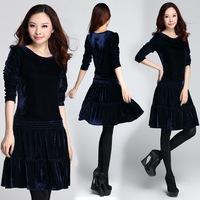 XL-4XL 2014 Autumn Winter Brand Ladies Korean Long Sleeve Pleuche Pleated Velvet Dress For Women Plus Size XXXXL Black/ Blue