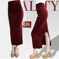 women knit maxi skirts 2014 new fashion autumn winter casual elegant solid color split slim pencil skinny long skirt