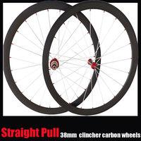 700c road 38mm clincher straight pull carbon wheels super lightweight powerway r36 hub pillar 1432 areo spoke