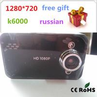 Hot Selling K6000 car dvr camera HD 720P 30FPS 2.4 TFT LCD Vehicle Video Recorder Dash Cam car black box Free shipping