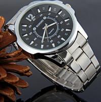 Superb! Men Quartz Watch Circular Dial Stainless Steel Strap Watch Hour Marks Silver Brand Watch